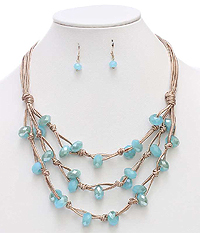 FACET STONE AND MULTI LAYER CORD NECKLACE SET