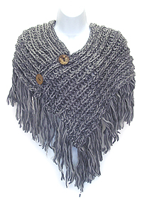 BUTTON AND TASSEL DROP CROCHET KNIT SCARF - 7.5 OZ
