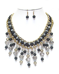 MULTI GLASS BEAD DROP CHUNKY NECKLACE SET
