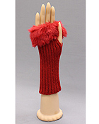 FUR TOP FINGERLESS OPERA GLOVE - 40% WOOL 30% RABBIT FUR 30% ACRYLIC