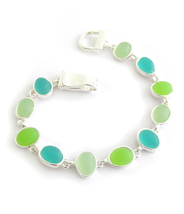 SEALIFE THEME MULTI SEAGLASS LINK MAGNETIC BRACELET