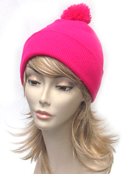 SOLID COLOR SLOUCHY POM BEANIE