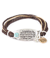 RELIGIOUS INSPIRATION HAMMERED PLATE TOGGLE BRACELET - SERENITY PRAYER