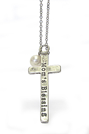 PEARL AND CROSS PENDANT NECKLACE - MOMS BLESSING