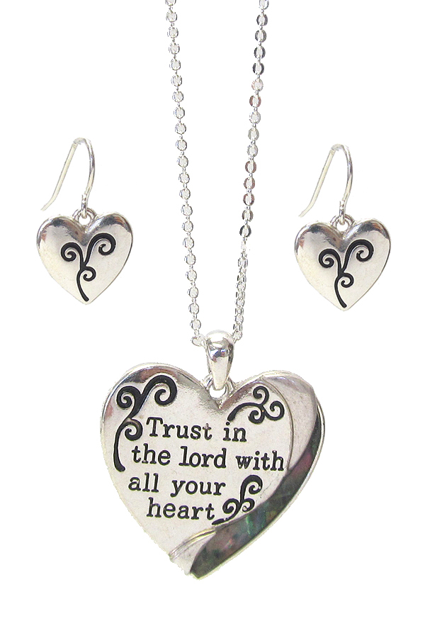 RELIGIOUS INSPIRATION MESSAGE PENDANT NECKLACE SET - TRUST IN THE LORD WITH ALL YOUR HEART