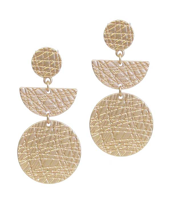 SCRATCH METAL DISC DROP EARRING