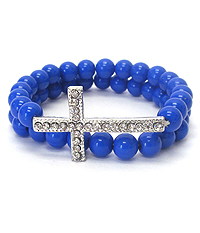 CRYSTAL CROSS AND BALL BEAD DOUBLE STRETCH BRACELET