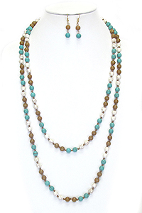 MULTI BALL STONE LINK LONG NECKLACE SET