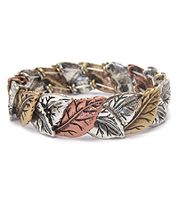 CHICO STYLE VINTAGE METAL LEAF STRETCH BRACELET