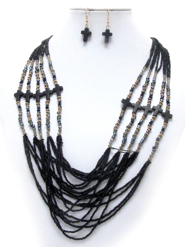 MULTI SEED BEAD AND CROSS DECO 5 LAYERED NECKLACE EARRING SET