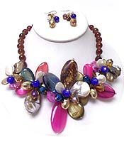 SEMI PRECIOUS STONE AND SHELL MULTI FLOWER NECKLACE SET