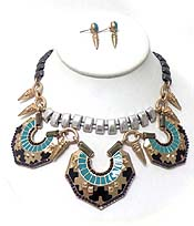 TRIBAL STYLE EPOXY MULTI METAL NECKLACE SET