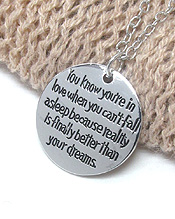 LOVE MESSAGE ROUND PENDANT NECKLACE - YOU ARE IN LOVE WHEN YOU CAN NOT FALL ASLEEP