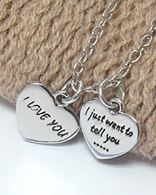LOVE MESSAGE DUAL HEART PENDANT NECKLACE - I JUST WANT TOTELL YOU. I LOVE YOU