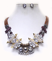 2 LAYER ROPE CRYSTAL DROP NECKLACE SET