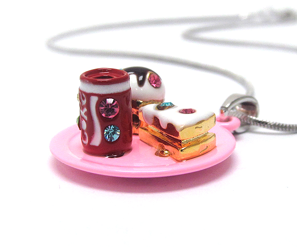 WHITEGOLD PLATING CRYSTAL STUD MINIATURE PIECE OF CAKE AND CUPCAKE WITH SODA CAN PENDANT NECKLACE
