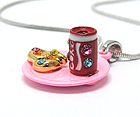 WHITEGOLD PLATING AND METAL EPOXY CRYSTAL STUD MINIATURE SODA AND PRETZEL PENDANT NECKLACE