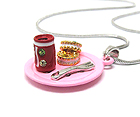 WHITEGOLD PLATING AND METAL EPOXY CRYSTAL STUD TWO MINIATURE COOKIE AND SODA CAN PENDANT NECKLACE