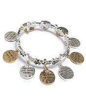 RELIGIOUS INSPIRATION TEM COMMANDMENTS MESSAGE CHARM AND CROSS STRETCH BRACELET