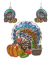 THANKSGIVING THEME TURKEY PENDANT AND EARRING SET