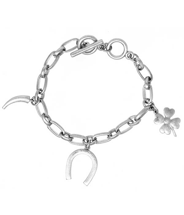 MULTI LUCKY CHARM chain TOGGLE BRACELET - HORSE SHOE