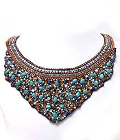 LAYER MULTI PEARLS AND STONE BIB NECKLACE