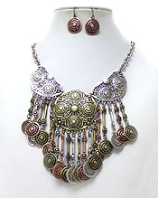 MULTI METAL WITH DISKS DROP NECKLACE SET