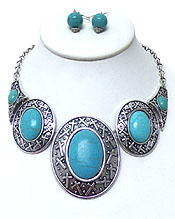 Wholesale Jewelry - TURQUOISE STONE WITH CROSS METAL DESIGN NECKLACE SET