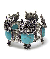 METAL OWL WITH TURQUOISE STONE BRACELET