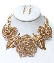 BOLD LARGE ROSE WITH CRYSTALS NECKLACE SET