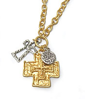TWO TEXTURED METAL CROSSES NECKLACE