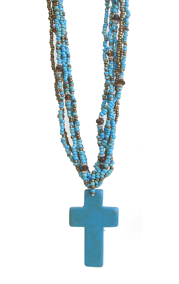 MULTI SEED BEAD LAYERED AND TURQUOISE PENDANT NECKLACE - CROSS