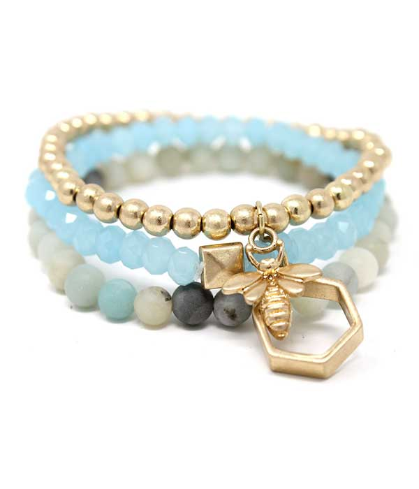 BEE AND HIVE CHARM AND MIXED BALL BEAD TRIPLE STRETCH BRACELET SET