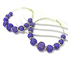 3 INCH HOOP CRYSTAL RONDELLE AND COLORED METAL MESH BALL BASKETBALL WIVES INSPIRED EARRING - HOOPS