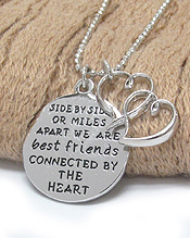 FRIENDSHIP MESSAGE TWO PIECE PENDANT NECKLACE - WE ARE BEST FRIENDS CONNECTED BY THE HEART