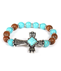 TEXTURED CROSS TURQUOISE AND WOOD BALL STRETCH BRACELET