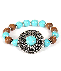 TURQUOISE CENTER TEXTURED DISK WOOD BALL STRETCH BRACELET