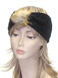 FUR FRONT KNIT HEADWRAP