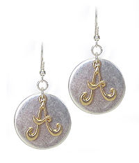 TWO TONE MONOGRAM EARRING - A