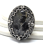 SNAKE SKIN OVAL STONE AND CRYSTAL DECO STRETCH RING
