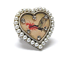 PEARL AND CRYSTAL DECO HEART STRETCH RING - BIRD PIC