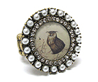 PEARL AND CRYSTAL DECO ROUND STRETCH RING - OWL PIC
