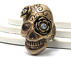 METAL TEXTURED WITH CRYSTAL FLOWERS SKULL STRETCH RING