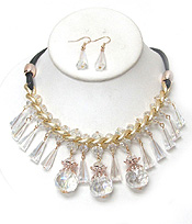 2 LAYER DROP CRYSTALS CHAIN NECKLACE SET