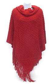 HEAD COVER AND TASSEL DROP KNIT PONCHO - 12 OZ
