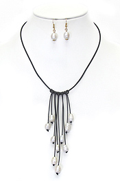 MULTI FRESHWATER PEARL DROP LEATHERETTE CORD NECKLACE SET
