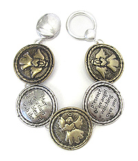 RELIGIOUS INSPIRATION MESSAGE DISK LINK MAGNETIC  BRACELET - ANGEL BLESSING