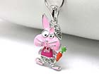WHITEGOLD PLATING EPOXY AND CRYSTAL DECO CARROT BUNNY PENDANT NECKLACE