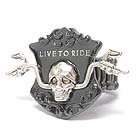 SKULL AND BIKE HANDLE AND LIVE TO RIDE BIKERS STRETCH RING