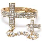 CRYSTAL CROSS STRETCH BRACELET AND RING SET